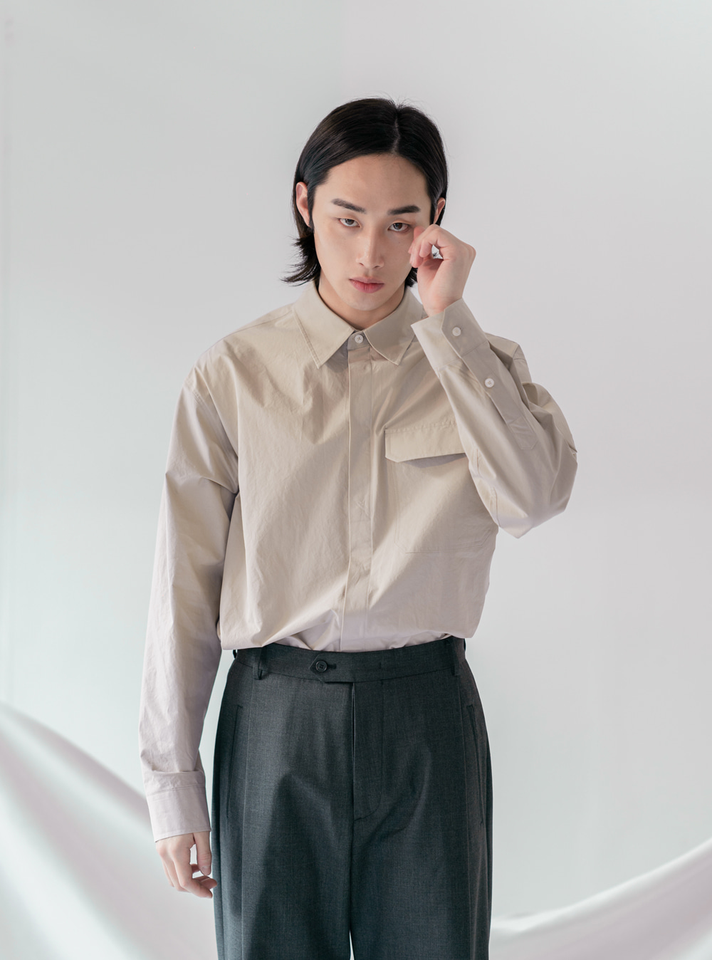 SYMMETRY WIDE SLACKS [CHARCOAL]