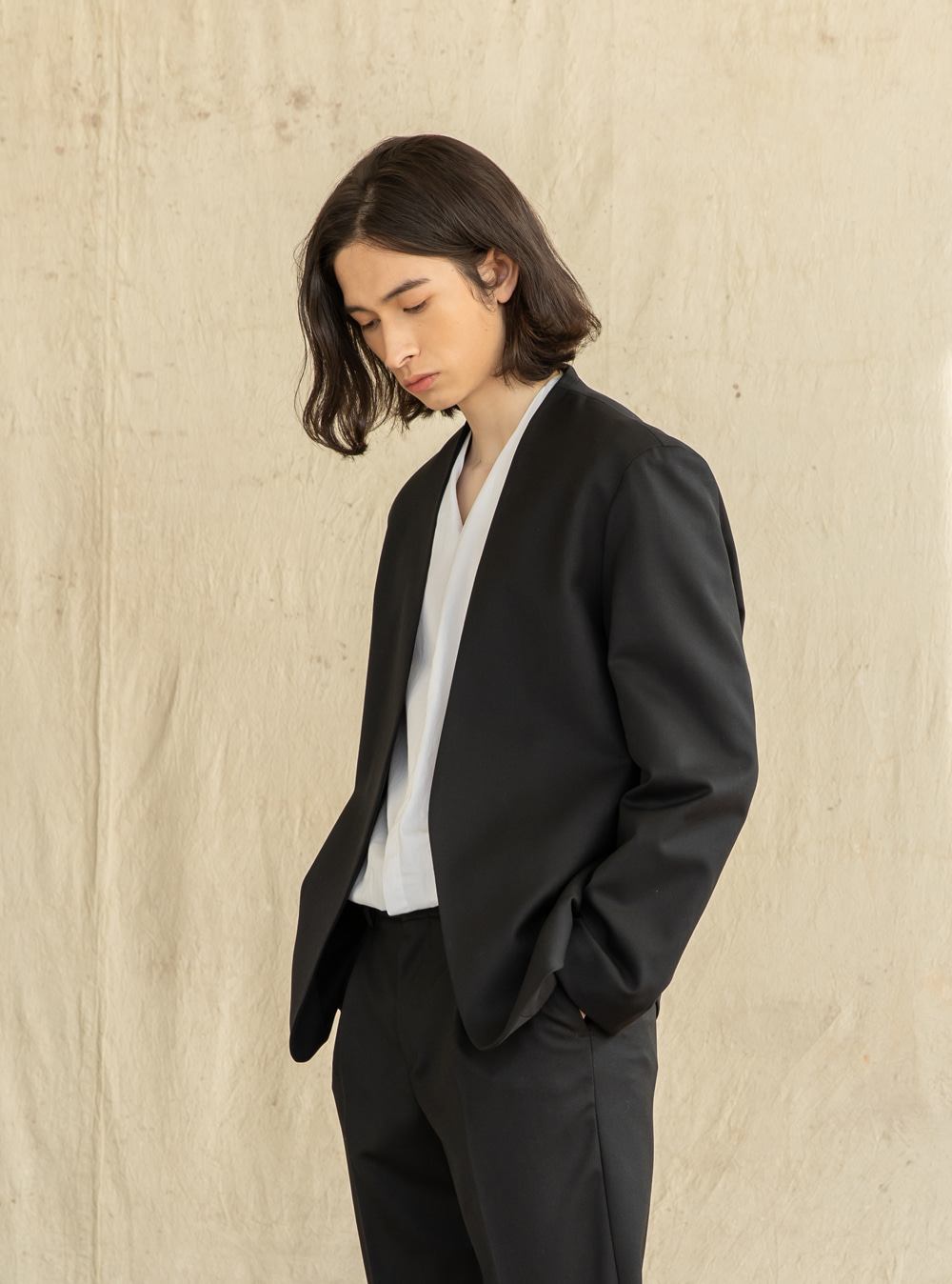 20SS_New Collarless Blazer [wool blend]_black